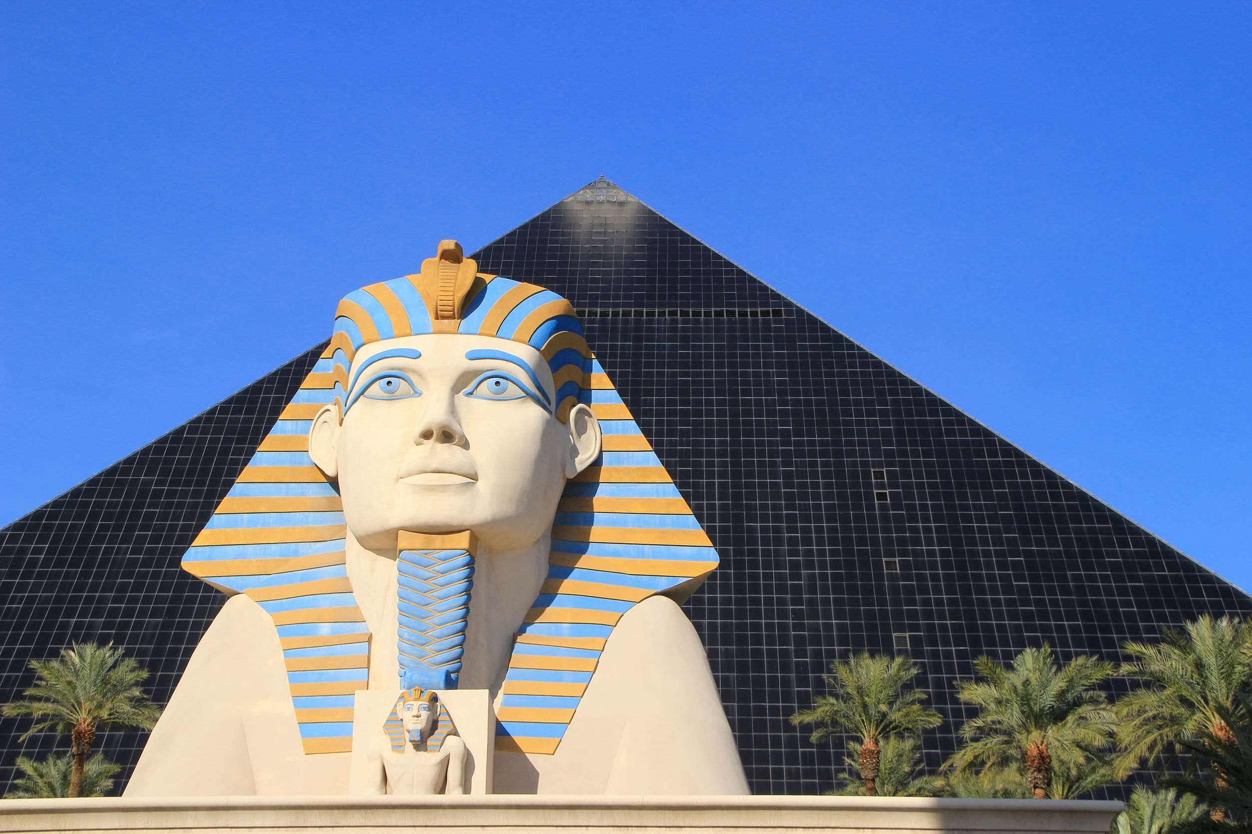 Close up of Great Sphinx of Giza and Pyramid tower, Luxor hotel and casino in Las Vegas, Nevada, USA